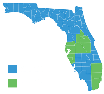 Nvirotect Pest Control Map - Serving Residential Pest Control Services to Broward, Hillsborough, Lake, Manatee, Miami-Dade, Osceola, Orange, Palm Beach, Pasco, Pinellas, Polk, Seminole & Sarasota counties. Lawn & Shrub - Residential/Commercial | Hillsborough | Pasco | Pinellas |
